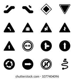 Solid vector icon set - escalator up vector, down, main road sign, giving way, turn left, tunnel, abrupt right, intersection, no overtake, only forward, circle, parking even, trip