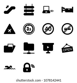 Solid vector icon set - escalator up vector, sign post, notebook connect, hotel, airport road, limited height, end speed limit, overtake, folder, network, presentation board, open, swimming