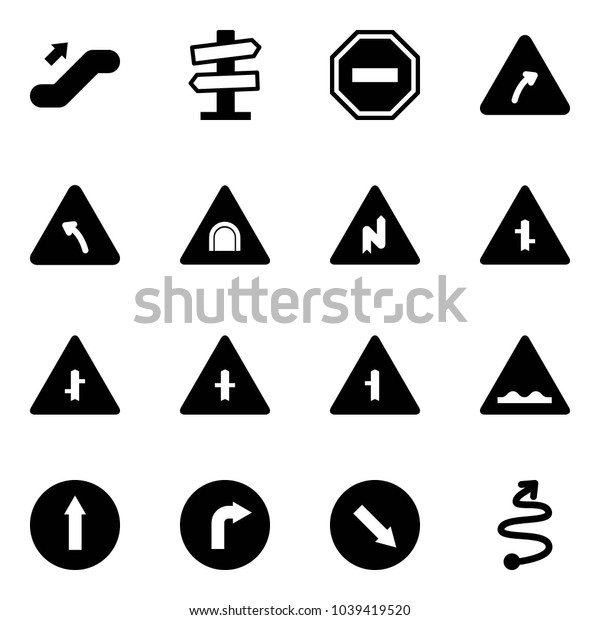 Solid vector icon set - escalator up vector, road signpost sign, no way, turn right, left, tunnel, abrupt, intersection, rough, only forward, detour, trip