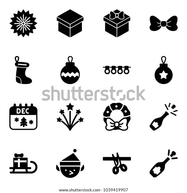 Solid vector icon set - firework vector, gift, bow, christmas sock, ball, garland, calendar, wreath, champagne, sleigh, elf, opening, fizz