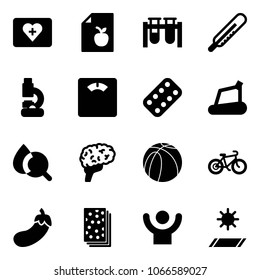 Solid vector icon set - first aid kit vector, diet list, vial, thermometer, lab, floor scales, pills blister, treadmill, blood test, brain, basketball ball, bike, eggplant, breads, success, mat