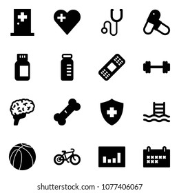 Solid vector icon set - first aid room vector, heart, stethoscope, pills, bottle, vial, medical patch, barbell, brain, broken bone, pool, basketball ball, bike, statistics, schedule