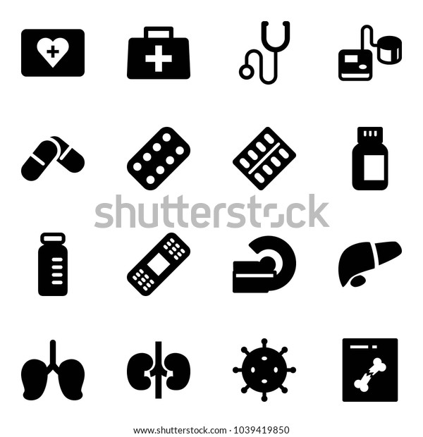 Solid vector icon set - first aid kit vector, doctor bag, stethoscope, tonometer, pills, blister, bottle, vial, medical patch, mri, liver, lungs, kidneys, virus, x ray