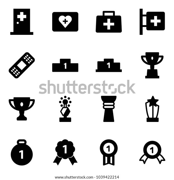 Solid vector icon set - first aid room vector, kit, doctor bag, medical patch, pedestal, win cup, gold, award, medal