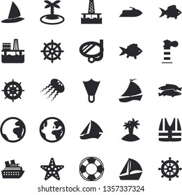 Solid vector icon set - fish flat vector, oil production platform, lighthouse, sailboat, earth fector, island, swimming mask, flippers, starfish, steering wheel, life vest, water scooter, lifebuoy