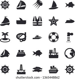 Solid vector icon set - fish flat vector, oil production platform, lighthouse, sailboat, earth fector, island, swimming mask, starfish, steering wheel, life vest, water scooter, lifebuoy, shark