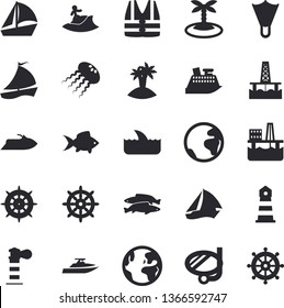 Solid vector icon set - fish flat vector, oil production platform, lighthouse, sailboat, earth, island, surfing, swimming mask, flippers, steering wheel, life vest, water scooter, cruise ship