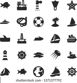 Solid vector icon set - fish flat vector, oil production platform, lighthouse, sailboat, earth fector, island, surfing, swimming mask, flippers, starfish, water scooter, lifebuoy, cruise ship, shark
