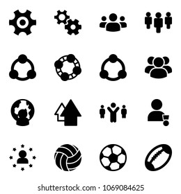 Solid vector icon set - gear vector, group, social, friends, community, man globe, arrow up, team leader, winner, star, volleyball, soccer ball, football