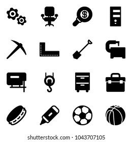 Solid vector icon set - gears vector, office chair, search money, server, axe, corner ruler, shovel, machine tool, jig saw, winch, cabinet, box, tambourine, marker, soccer ball, basketball