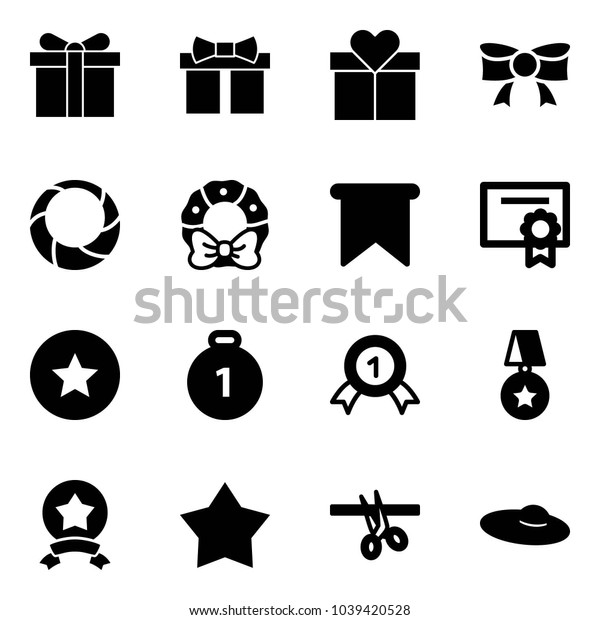 Solid vector icon set - gift vector, bow, christmas wreath, flag, certificate, star medal, gold, opening, woman hat