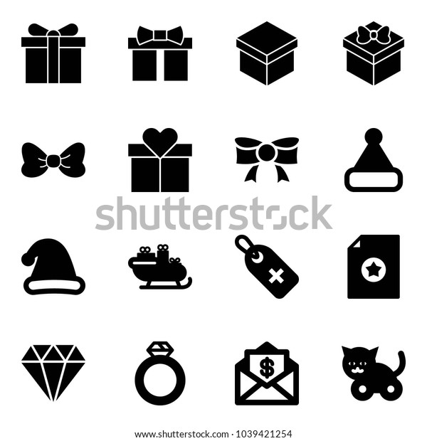 Solid vector icon set - gift vector, bow, christmas hat, santa sleigh, medical label, certificate, diamond, ring, mail dollar, toy cat