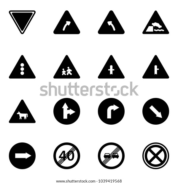 Solid vector icon set - giving way vector road sign, turn right, left, embankment, traffic light, children, intersection, cow, only forward, detour, end speed limit, overtake, no stop