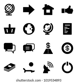 Solid vector icon set - globe vector, right arrow, home, like, basket, document, dialog, dollar, lounger, satellite antenna, standby button