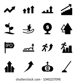 Solid vector icon set - growth arrow vector, arrows up, sproute, hand, money tree, ipo, career, dollar, hoe