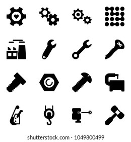 Solid vector icon set - heart gear vector, circuit, plant, wrench, screw, bolt, nut, machine tool, winch, laser lever, toy hammer