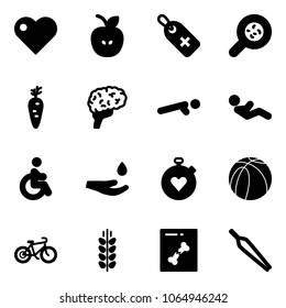 Solid vector icon set - heart vector, apple, medical label, bacteria, carrot, brain, push ups, abdominal muscles, disabled, drop hand, stopwatch, basketball ball, bike, spica, x ray, forceps