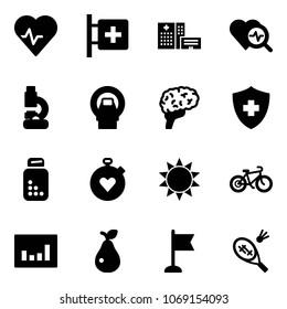 Solid vector icon set - heart pulse vector, first aid room, hospital building, diagnosis, lab, mri, brain, pills bottle, stopwatch, sun, bike, statistics, pear, flag, badminton