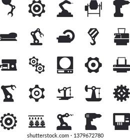 Solid vector icon set - hook flat vector, concrete mixer, cogwheel, drill screwdriver, weighing machine, coffee, sprinkling, oil pumping, robotics, tomograph, printer, copy, stapler, robot hand