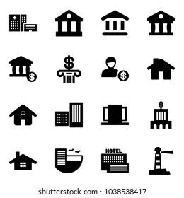 Solid vector icon set - hospital building vector, bank, account, home, doors, hotel, sea, lighthouse