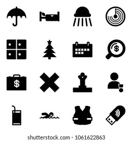 Solid vector icon set - , hotel, shower, radar, baggage room, christmas tree, schedule, money search, case, delete cross, winner, drink, swimming, life vest, usb wi fi