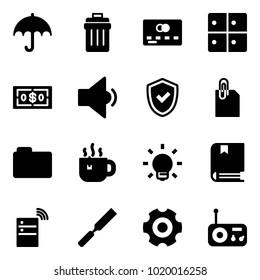 Solid vector icon set - insurance vector, trash bin, credit card, baggage room, dollar, low volume, shield check, attachment, folder, hot tea, bulb, book, server wireless, rasp, gear, radio