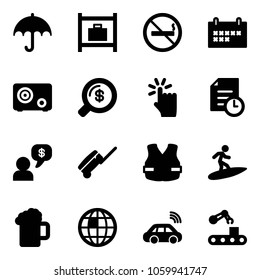 Solid vector icon set - insurance vector, baggage room, no smoking sign, schedule, safe, money search, hand touch, history, dialog, suitcase, life vest, surfing, beer, globe, car wireless, conveyor