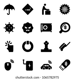 Solid vector icon set - insurance vector, smoking area sign, baby room, firework, virus, safe, money search, hand touch, standby, winner, suitcase, mouse wireless, power bank, car, usb wi fi