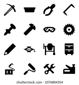 Solid vector icon set - job vector, basin, side cutters, staple, nail dowel, screw, protective glasses, saw disk, pencil, jack, cocncrete mixer, tool cabinet, welding, paint roller, wrench hammer