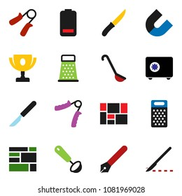 solid vector icon set - ladle vector, knife, grater, pen, award cup, magnet, safe, hand trainer, consolidated cargo, battery, scalpel
