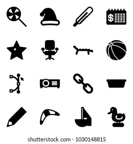 Solid vector icon set - lollipop vector, christmas hat, thermometer, finance calendar, star, office chair, lounger, ball, bezier, projector, link, basin, pencil, boomerang, sailboat toy, duck