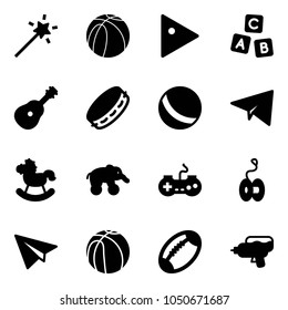 Solid vector icon set - Magic wand vector, basketball ball, play, abc cube, guitar, tambourine, paper plane, rocking horse, elephant wheel, gamepad, yoyo, football, water gun