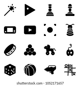 Solid vector icon set - Magic wand vector, play, chess queen, pawn, game console, playback, record button, pyramid toy, tambourine, billiards balls, wheel horse, yoyo, bones, basketball, water gun