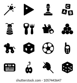 Solid vector icon set - Magic wand vector, play, pawn, abc cube, pyramid toy, shovel fork, bucket, billiards balls, wheel horse, soccer ball, phone, piano, yoyo, unicorn stick, bones