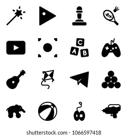 Solid vector icon set - Magic wand vector, play, pawn, badminton, playback, record button, abc cube, joystick, guitar, kite, paper plane, billiards balls, elephant wheel, beach ball, yoyo, water gun