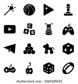 Solid vector icon set - Magic wand vector, basketball ball, play, pawn, playback, abc cube, pyramid toy, joystick, paper plane, billiards balls, wheel horse, gamepad, yoyo, bones, football