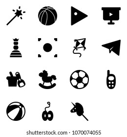 Solid vector icon set - Magic wand vector, basketball ball, play, presentation board, chess queen, record button, kite, paper plane, shovel bucket, rocking horse, soccer, phone toy, beach, yoyo