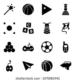 Solid vector icon set - Magic wand vector, basketball ball, play, chess queen, record button, abc cube, pyramid toy, kite, billiards balls, gamepad, soccer, phone, yoyo, paper plane, water gun