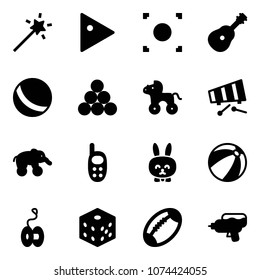 Solid vector icon set - Magic wand vector, play, record button, guitar, ball, billiards balls, wheel horse, xylophone, elephant, phone toy, rabbit, beach, yoyo, bones, football, water gun