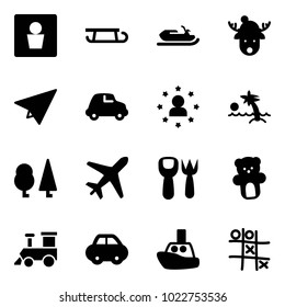 Solid vector icon set - male wc vector, sleigh, snowmobile, christmas deer hat, paper plane, car, star man, palm, forest, shovel fork toy, bear, train, boat, Tic tac toe