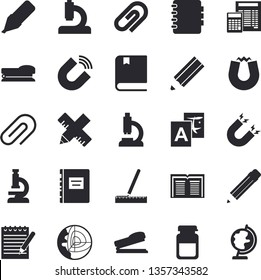 Solid vector icon set - measure flat vector, calculator, magnet, marker, microscope, medical analysis, clip, stapler, notepad, pencil, textbook, core of the earth fector, translate, book, notebook