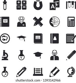Solid vector icon set - measure flat vector, calculator, medical analysis, notebook, abacus, pencil, flask, microscope, notepad, bachelor cap, textbook, magnet, scientist, beakers, Petri dish, globe