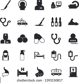 Solid vector icon set - medical warmer flat vector, blood transfusion, physician, stethoscope, hospital bed, massage, ambulance, diagnostics, ampoule, tomograph, nurse, scalpel, stomach, pills