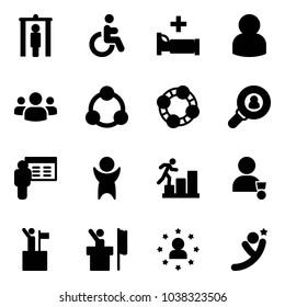 Solid vector icon set - metal detector gate vector, disabled, hospital bed, user, group, social, friends, head hunter, presentation, success, career, winner, win, speaker, star man, flying