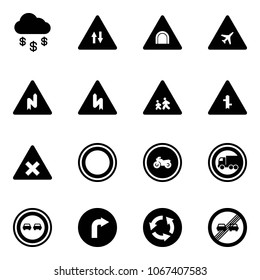 Solid vector icon set - money rain vector, oncoming traffic road sign, tunnel, airport, abrupt turn right, children, intersection, railway, prohibition, no moto, truck, overtake, only, circle
