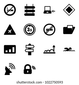 Solid vector icon set - no smoking sign vector, post, notebook connect, main road, airport, limited height, end overtake limit, folder, statistics, signpost, growth, swimming, satellite antenna
