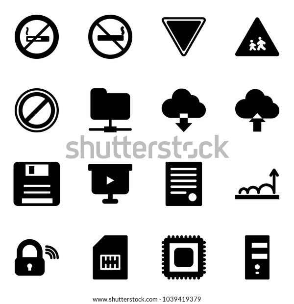 Solid vector icon set - no smoking sign vector, giving way road, children, parking, network folder, download cloud, upload, save, presentation board, agreement, growth, wireless lock, sim, cpu