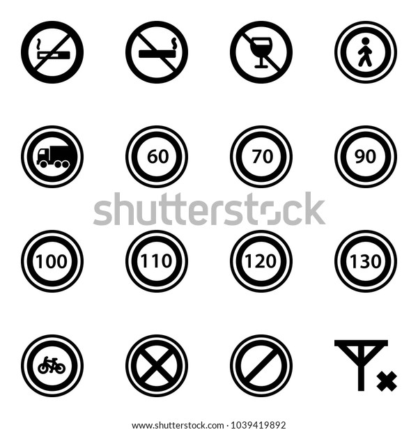 Solid vector icon set - no smoking sign vector, alcohol, pedestrian road, truck, speed limit 60, 70, 90, 100, 110, 120, 130, bike, stop, parking, signal