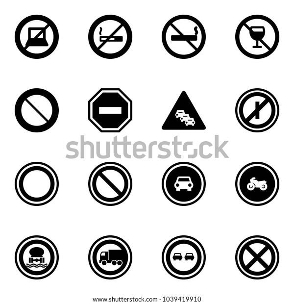 Solid vector icon set - no computer sign vector, smoking, alcohol, prohibition road, way, multi lane traffic, parkin odd, car, moto, dangerous cargo, truck, overtake, stop