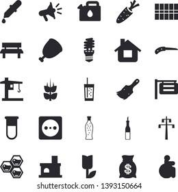 Solid vector icon set - paint brush flat vector, tile, sauce, ham, lemonade, soda, honeycomb, ear, carrot, knife, tulip, house, bench, fireplace, socket, power line support, energy saving lamp